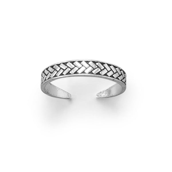 Sterling Silver Braid Wheat Design Toe Ring - deelytes-com