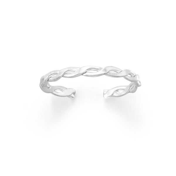 Sterling Silver Polished Infinity Weave Toe Ring - deelytes-com