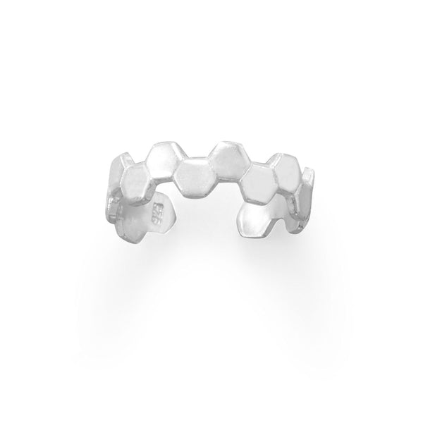 Sterling Silver Honeycomb Design Toe Ring - deelytes-com