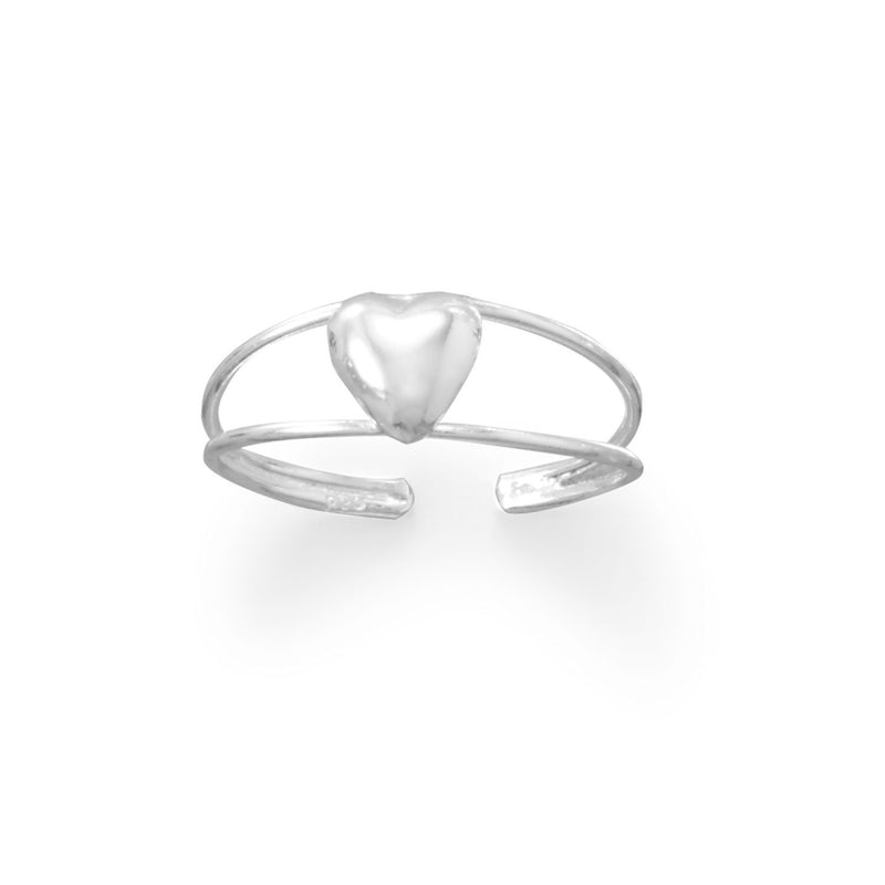 Sterling Silver Polished Heart and Split Band Toe Ring - deelytes-com