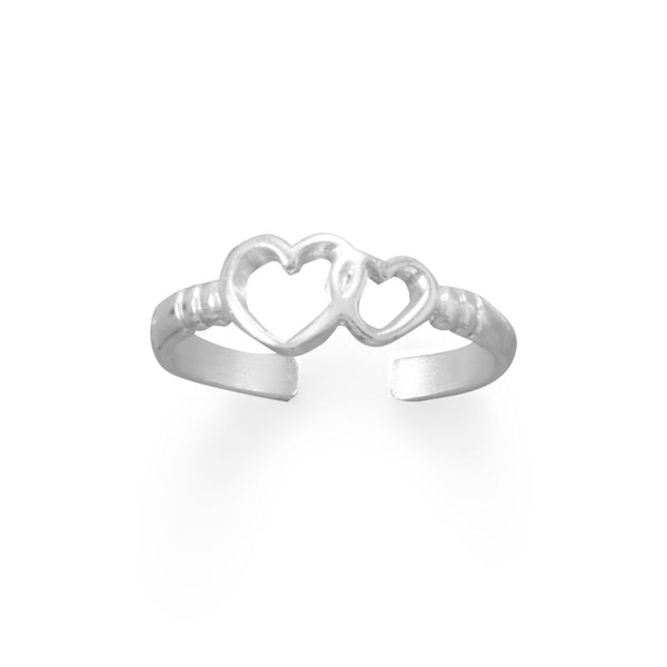 Sterling Silver Double Heart Ribbed Band Toe Ring - deelytes-com