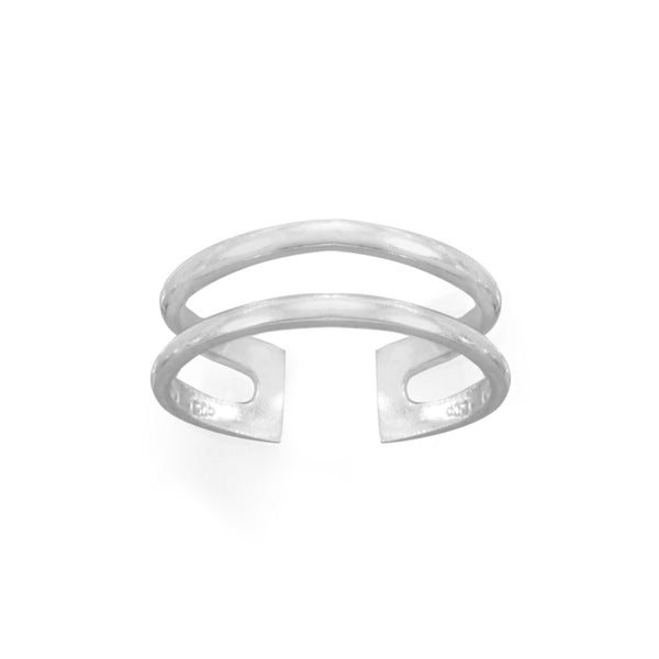 Polished Sterling Silver Double Row Toe Ring - deelytes-com