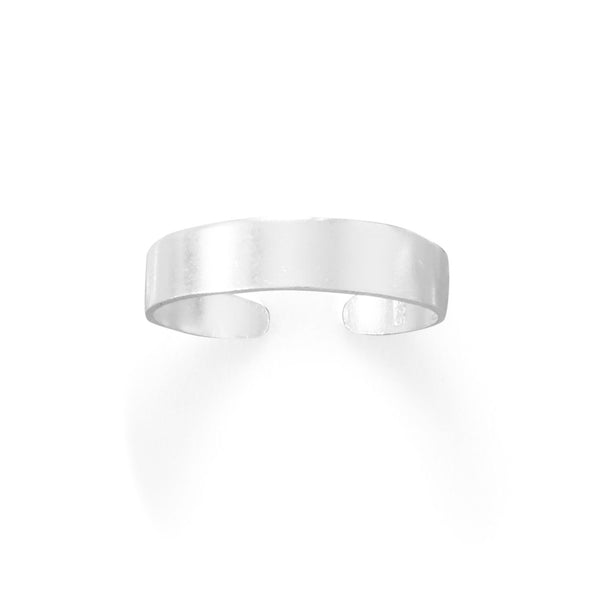 Sterling Silver Toe Ring Polished Plain 4mm Wide Flat Band - deelytes-com