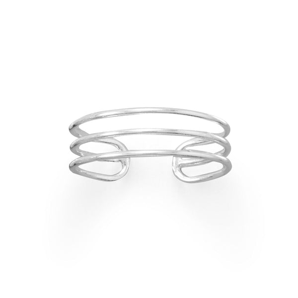 Polished Sterling Silver Triple Row Toe Ring - deelytes-com