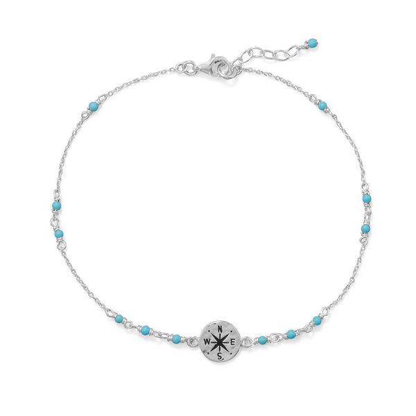 Blue Beaded Anklet/Ankle Bracelet with Compass Charm - deelytes-com