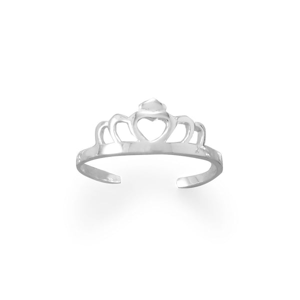 Sterling Silver Tiara Crown Heart Toe Ring - deelytes-com