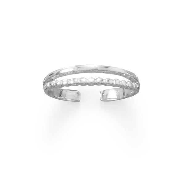 Sterling Silver Double Band Bead and Smooth Toe Ring - deelytes-com