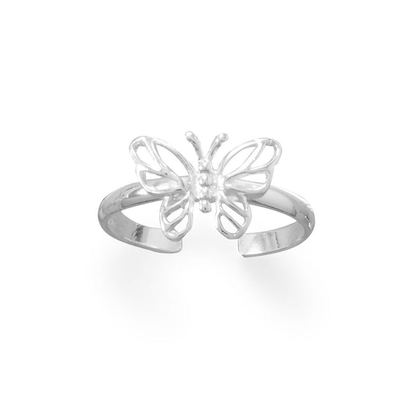 Sterling Silver Butterfly Toe Ring - deelytes-com
