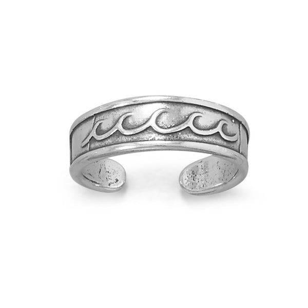 Sterling Silver Ocean Waves Toe Ring - deelytes-com