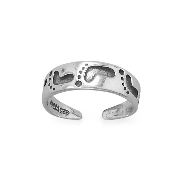 Sterling Silver Footprints In The Sand Toe Ring - deelytes-com