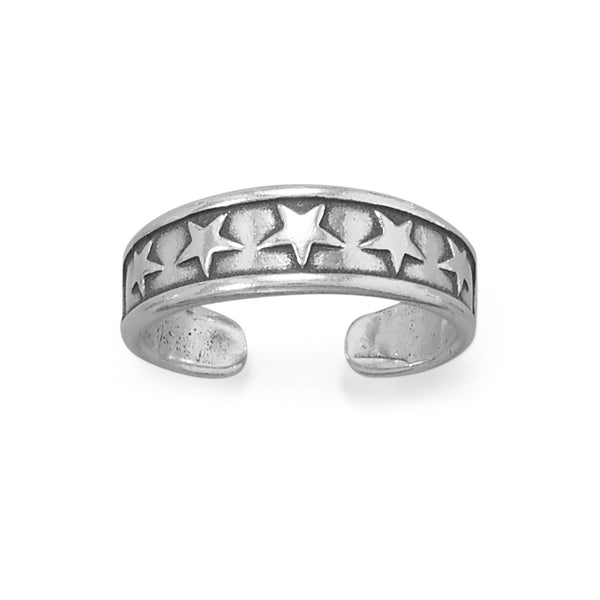 Sterling Silver Antiqued Stars Design Toe Ring Stars Design - deelytes-com