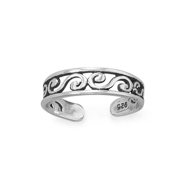 Toe Ring Swirl Scroll Design Antiqued Sterling Silver - deelytes-com