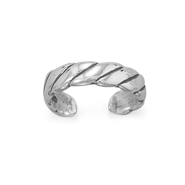Sterling Silver Antiqued Wide Rope Design Toe Ring - deelytes-com