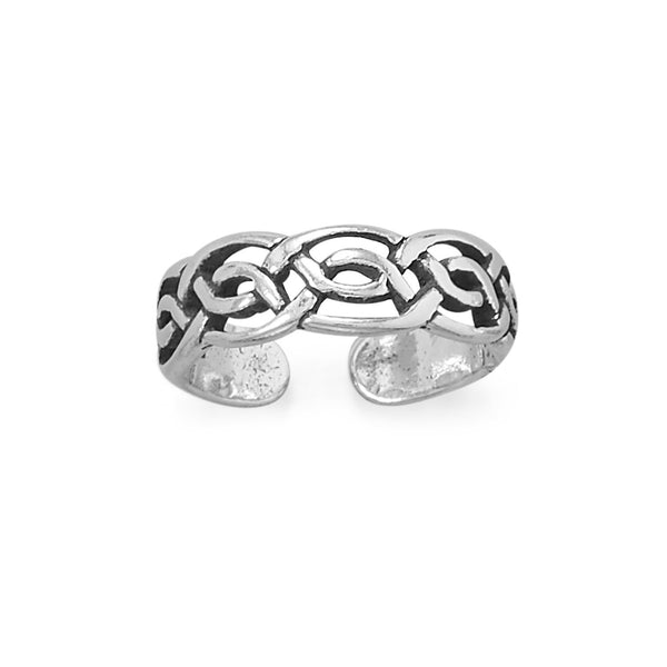 Toe Ring Polished and Antiqued Celtic Design Sterling Silver - deelytes-com