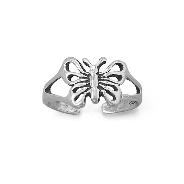 Sterling Silver Antiqued Butterfly Design Toe Ring - deelytes-com