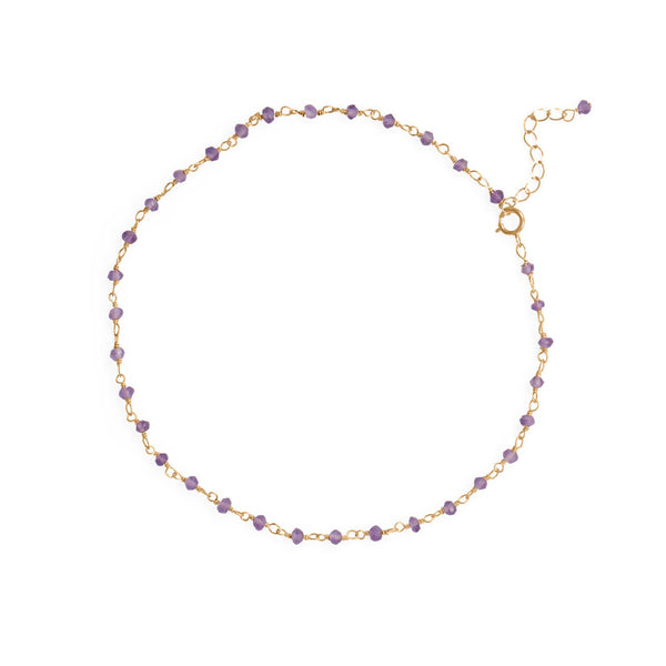 14 Karat Gold Plated Amethyst Beaded Anklet