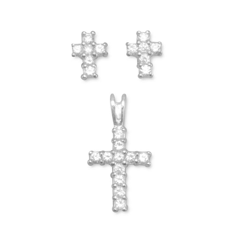 CZ Cross Earrings/Pendant Set Sterling Silver - deelytes-com