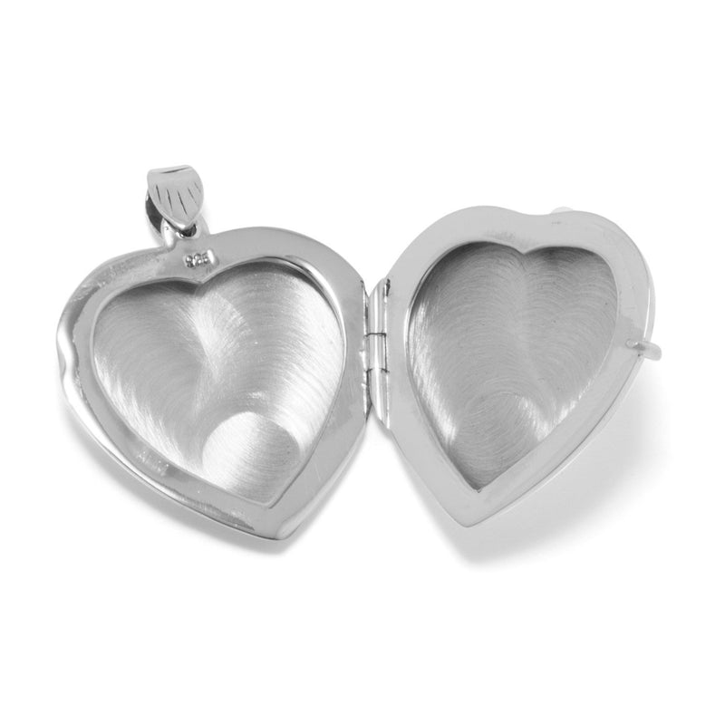 Large Etched Sterling Silver Heart Locket - deelytes-com