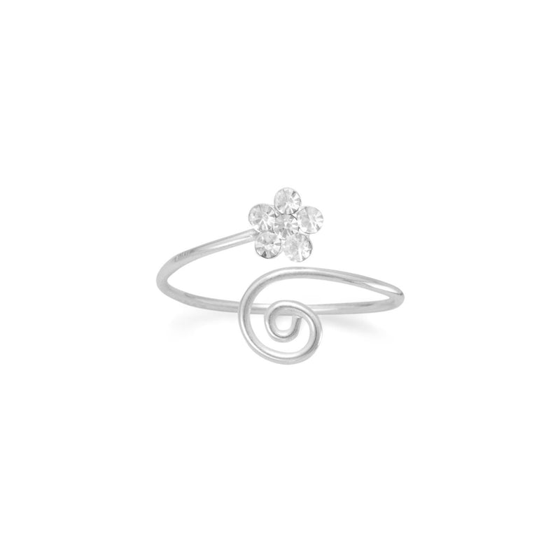 Sterling Silver Wrap Design Clear Crystal Flower Toe Ring - deelytes-com