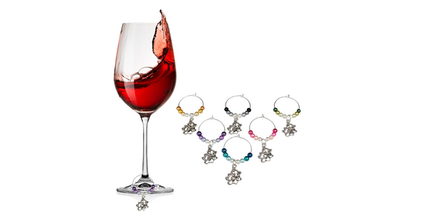 Bear with Cub Charm Wine Glass Ring Marker, Ombre Style Pearls, 6 Color Options