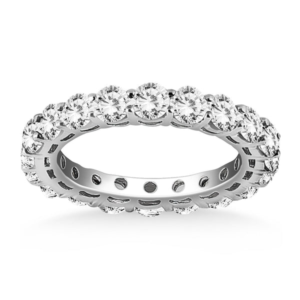 14K White Gold Shared Prong Round Cut Diamond Eternity Ring - deelytes-com