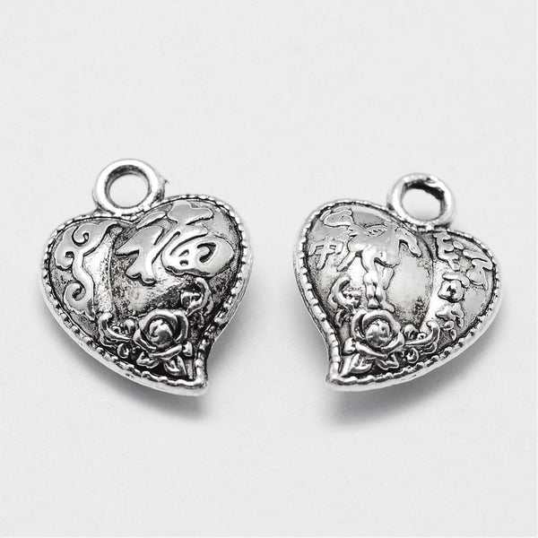Silver Heart With Flower Charms Double Sided Jewelry Making Pendants Lot 5pcs - deelytes-com