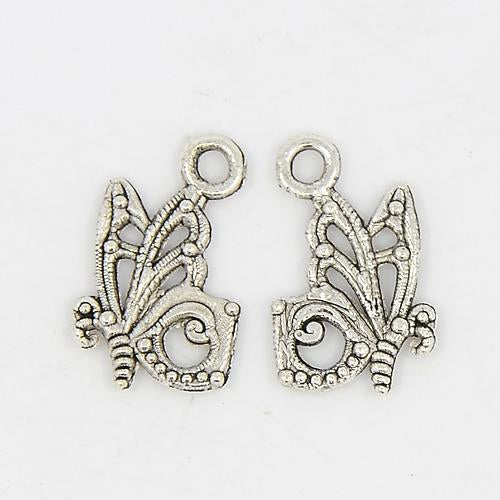 Silver Butterfly Charms Pendant Jewelry Making 17mm Lot 20pcs - deelytes-com