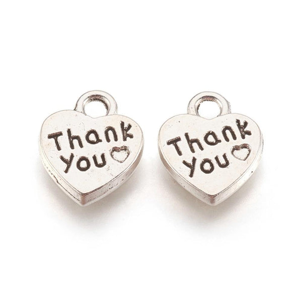 Thank you Charms Pendants Heart Tag 3D 13mm Double Sided Beads Lot 20pcs - deelytes-com