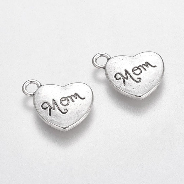 Mom Heart Pendant Charm 10 Pcs Quality Tibetan Silver Color - deelytes-com