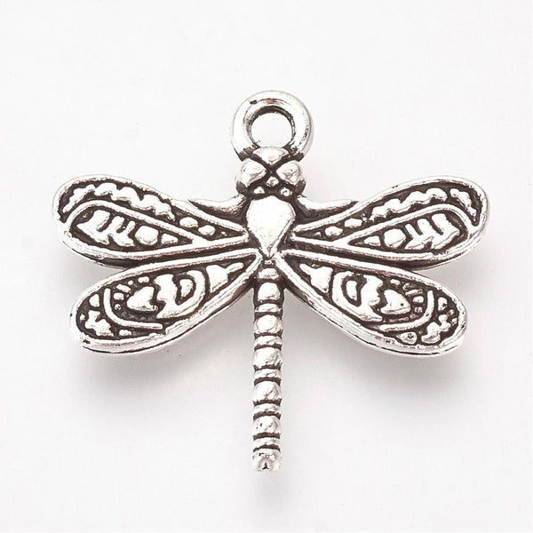 Tibetan Silver Style Dragonfly Alloy Charms Lot 20 Pcs - deelytes-com