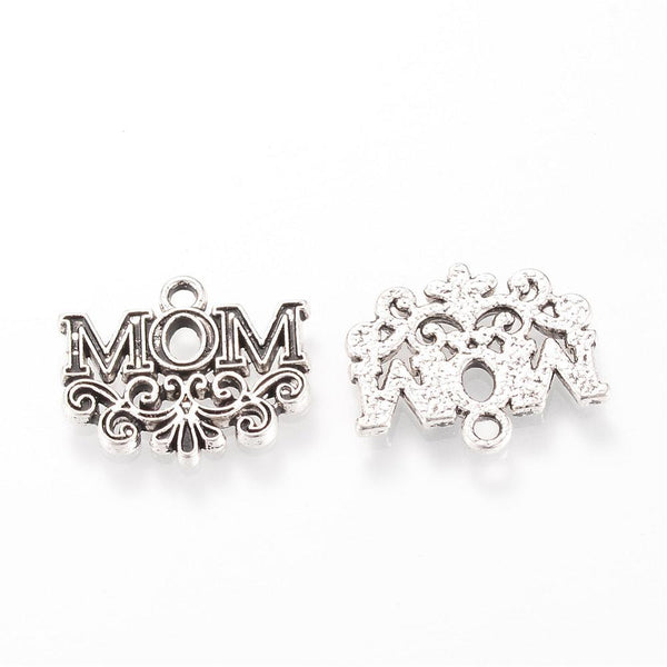 Fancy MOM Charms Word Pendants Mothers Day Antiqued Silver 10pcs - deelytes-com