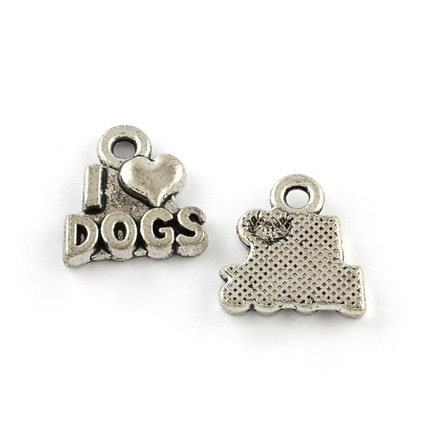 I Love Dogs Heart Charms Pendants Jewelry Making Silver Lot 20pcs - deelytes-com