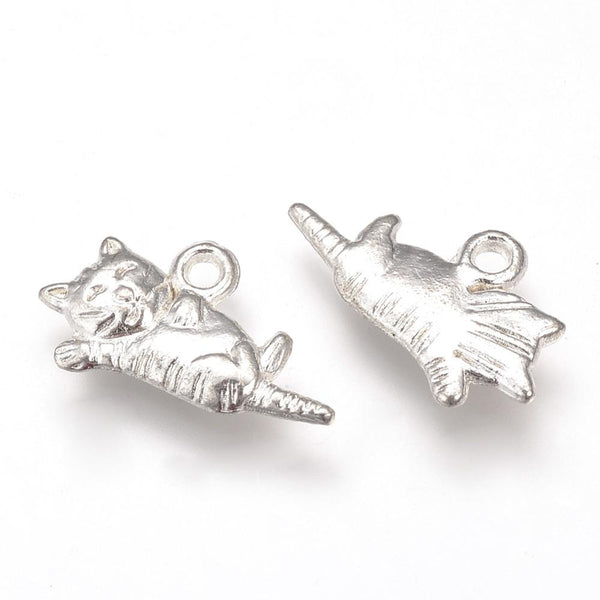 Tibetan Silver Playful Cute Cat Charm 2 Sided Pendant Jewelry Making Lot 20pcs - deelytes-com