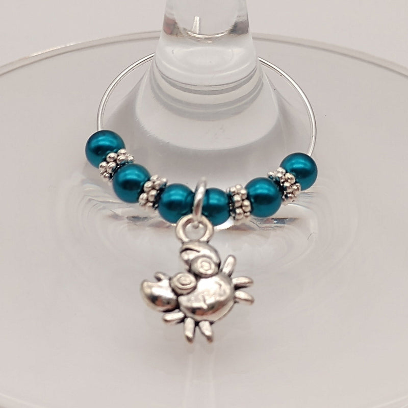 Ocean Blues Crab Wine Glass Charm Ring, Marker - deelytes-com