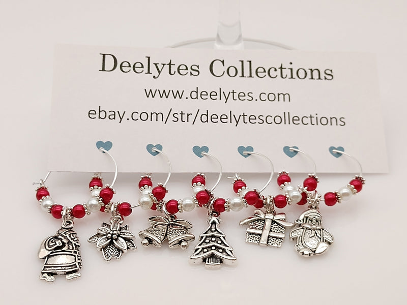 6pc Christmas Set, Silver, Wine Glass Charm Rings, Marker 12 Color Options - deelytes-com