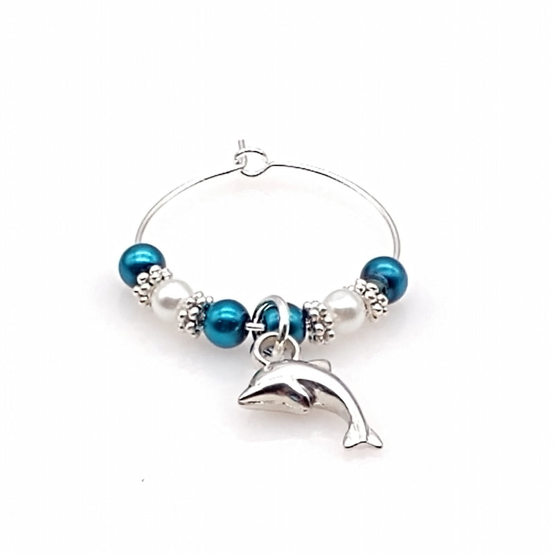 Dolphin  W/ Ocean Blue Pearls Wine Glass Charm Ring, Marker - deelytes-com