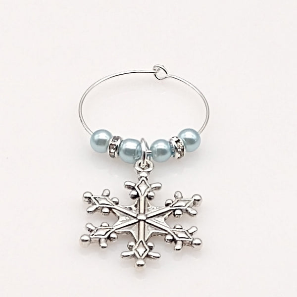 Christmas, Winter Snowflake, Rhinestone Wine Glass Charm Ring, Marker 14 Options - deelytes-com