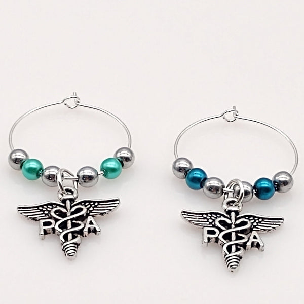 PA Caduceus Symbol Wine Glass Charm Ring, Hematite, Pearl Beads 2 Color Options - deelytes-com