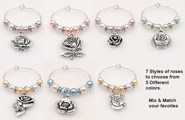 Rose Wine Glass Ring Charm, Marker, 5 Colors, Mix & Match