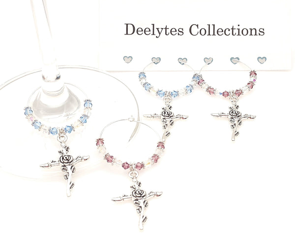 Holy Cross Rose Overlay Swarovski Crystal Rosary Wine Glass Charm Ring 2pc Set - deelytes-com