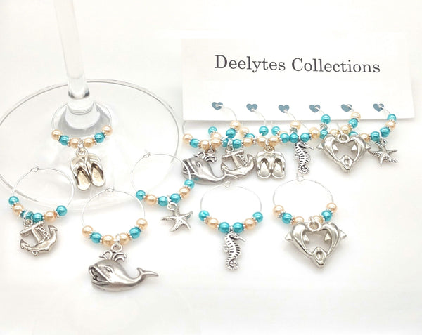 Ocean Blue/Sandy Beach Theme Wine Glass Charm Rings, Marker, 6pc Set - deelytes-com