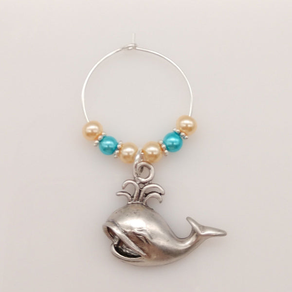 Spouting Whale Caribbean Blue Ocean & Sand Colored Pearls Wine Glass Charm Ring - deelytes-com