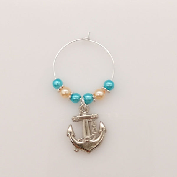 Anchor's Away Caribbean Blue Ocean & Sand Colored Pearls Wine Glass Charm Ring - deelytes-com