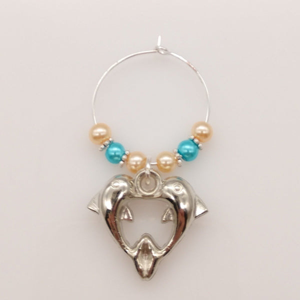 Dolphin Heart Caribbean Blue Ocean & Sand Colored Pearls Wine Glass Charm Ring - deelytes-com