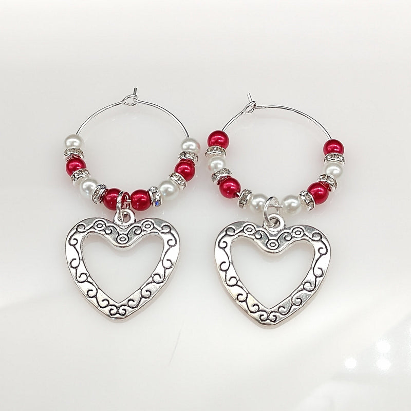 Heart Wine Glass Charm Ring, Marker, 2pc Set, Red & White Pearls, Rhinestones - deelytes-com