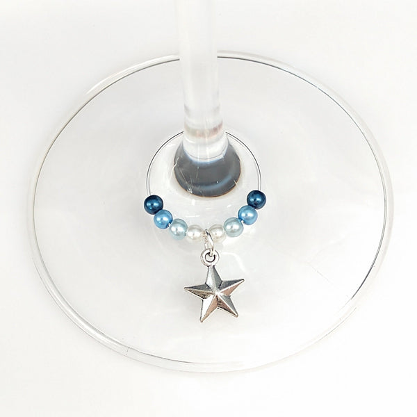 Colors of The Ocean - Blue Ombre Nautical Star Charm Wine Glass Ring, Marker - deelytes-com