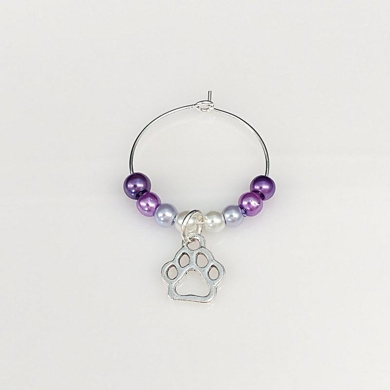 Ombre Style Pearls w/Dog Paw Prints Wine Glass Charm Ring, Marker 6 Color Options - deelytes-com
