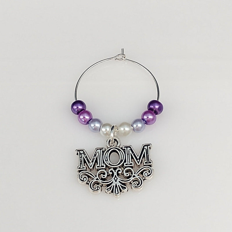 Ombre Style Pearls w/ Fancy MOM Wine Glass Charm Ring, Marker 6 Color Options - deelytes-com