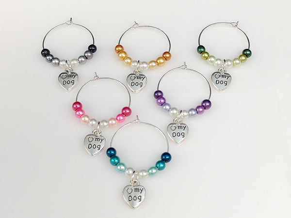Ombre Style Pearls, 2-sided I Love My Dog Heart w/ Paw Wine Glass Charm Ring, Marker 6 Color Options - deelytes-com