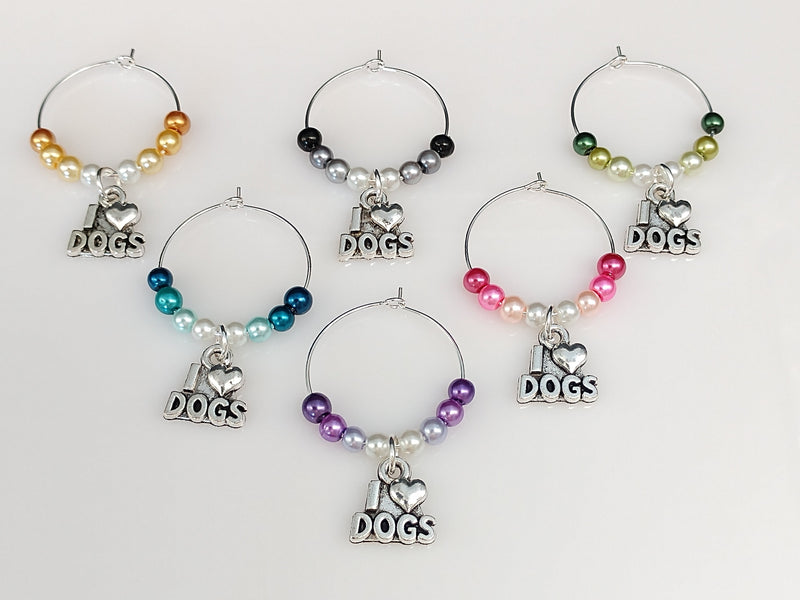 Ombre Style Pearls w/ I Love Dogs Wine Glass Charm Ring, Marker 6 Color Options - deelytes-com
